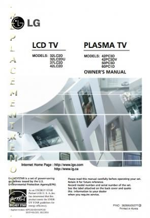 LG 32LC2D 42PC3DOM Operating Manual