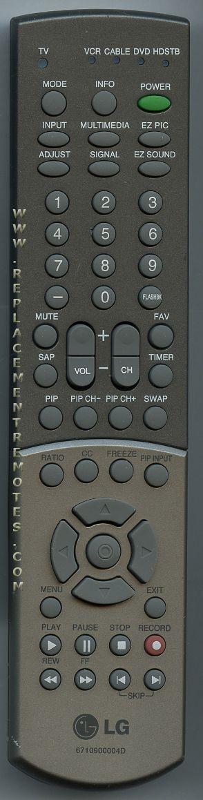 LG 6710900004D TV Remote Control