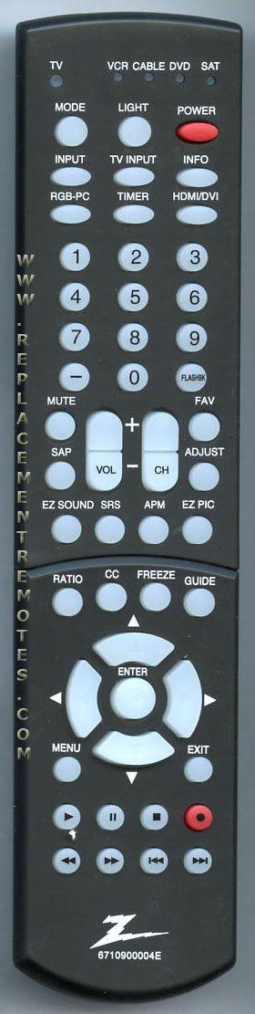 ZENITH 6710900004E TV Remote Control