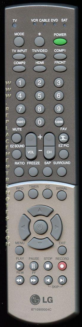 LG 6710900004C TV Remote Control