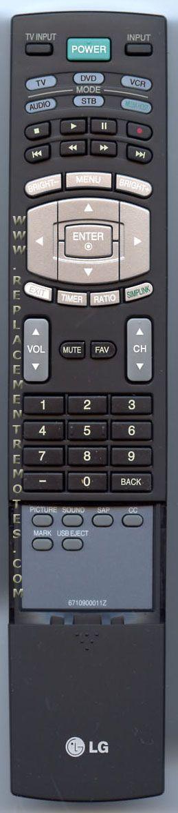 LG 6710900011Z Remote Control
