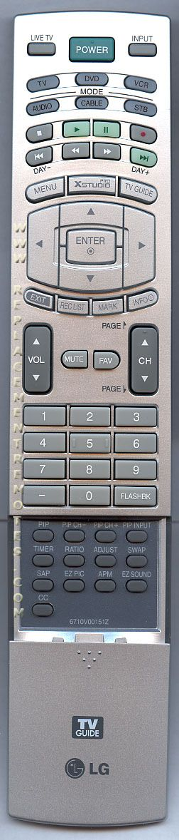 LG 6710V00151Z DVDR/VCR Recorder Remote Control