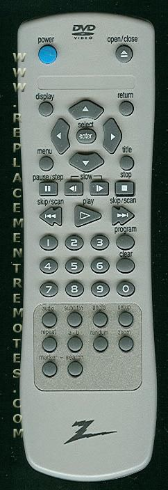 ZENITH 6711R1N104A DVD Player Remote Control