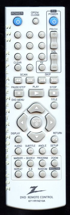 ZENITH 6711R1N210A DVD Player Remote Control