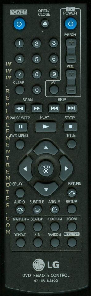 LG 6711R1N210D DVD Player Remote Control
