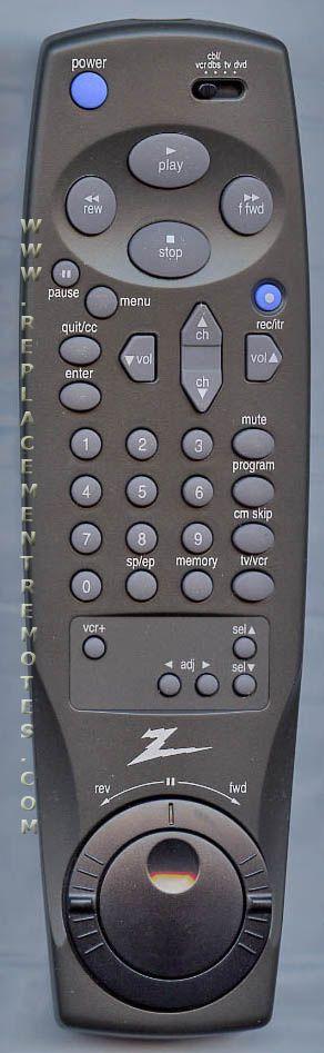 ZENITH 6711R2N004B VCR Remote Control