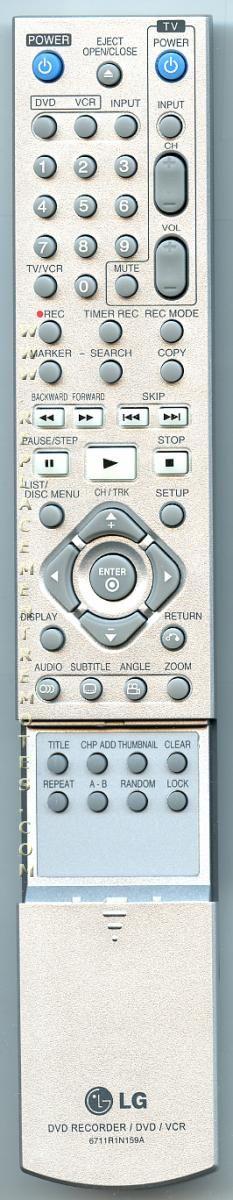 LG 6711R1N159A DVDR/VCR Recorder Remote Control