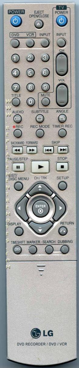LG 6711R1N182A DVDR/VCR Recorder Remote Control