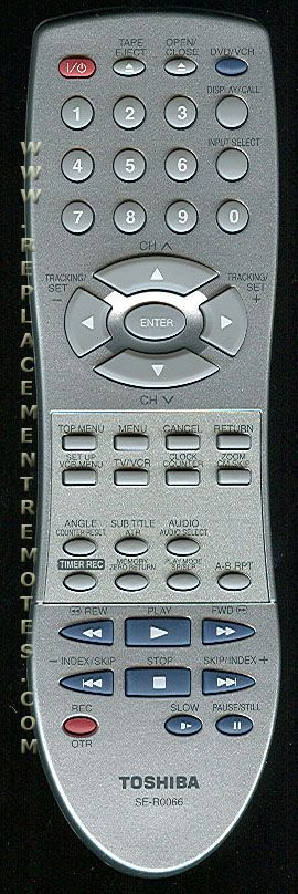 TOSHIBA SER0066 DVD/VCR Combo Player Remote Control