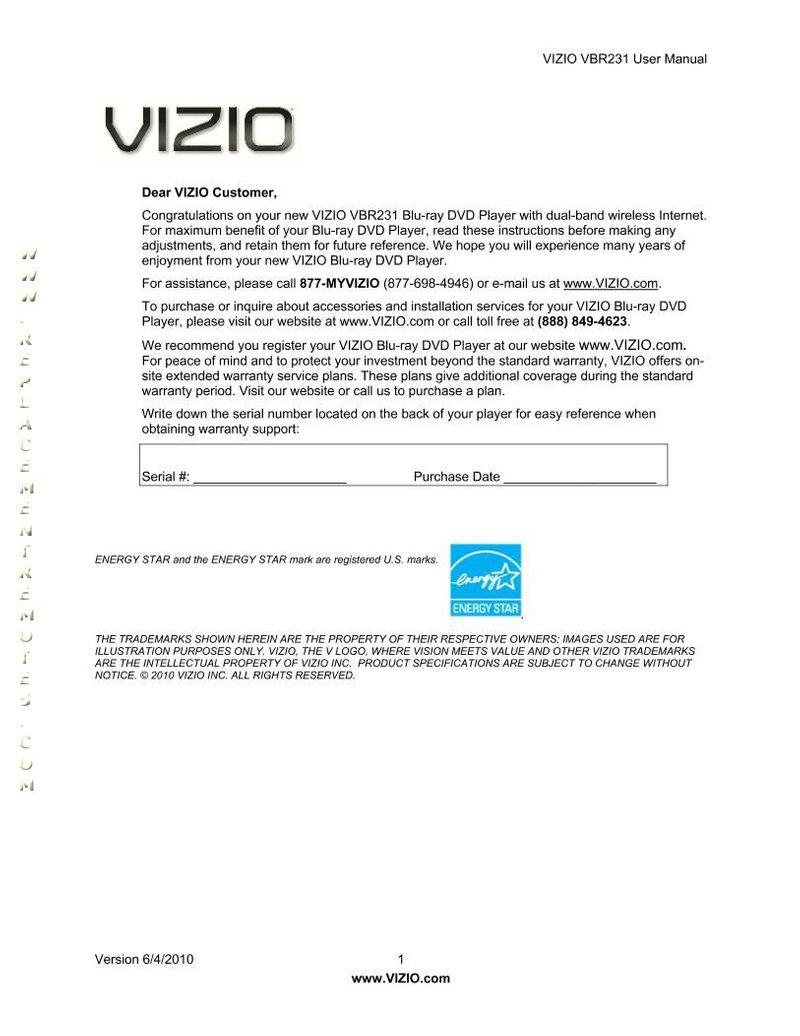 VIZIO VBR231OM Operating Manual