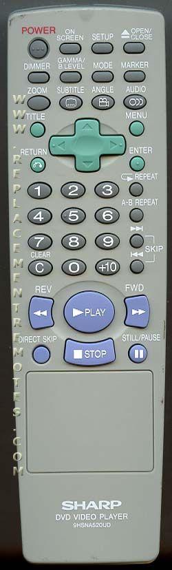 SHARP 9HSNA520UD DVD Player Remote Control