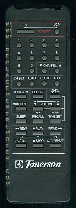 EMERSON 076G001004 VCR Remote Control