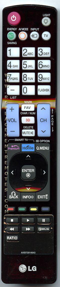 LG AKB72914043 TV Remote Control