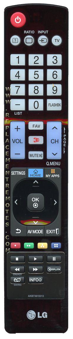 LG AKB73615313 TV Remote Control