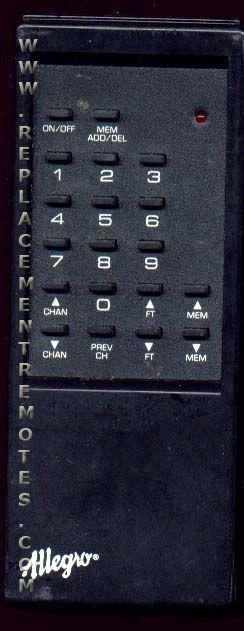 ALLEGRO ALLEG07 TV Remote Control