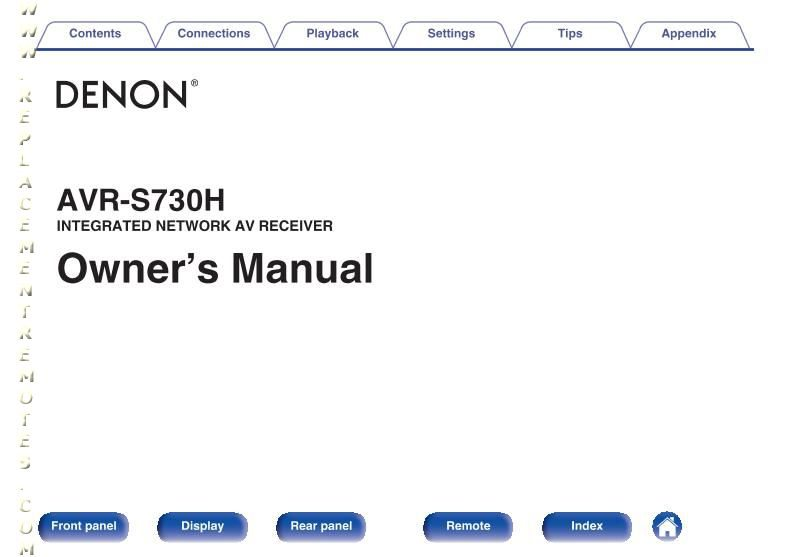 DENON AVRS730HOM Operating Manual