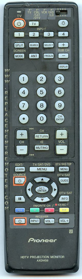PIONEER AXD1458 Audio/Video Receiver Remote Control