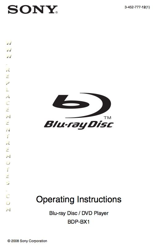 SONY BDPBX1OM Operating Manual