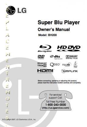LG BH200 Blu Ray PlayerOM Operating Manual