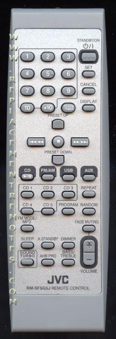 JVC RMSFSG5J Audio System Remote Control