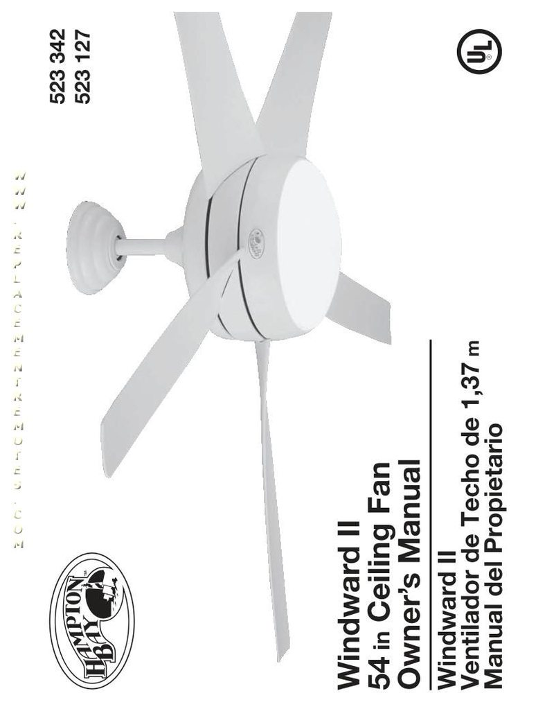 Hampton-Bay Windward II 54 in Ceiling Fan Operating Manual