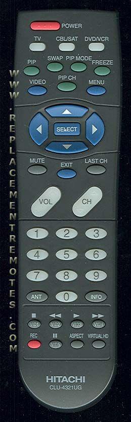 HITACHI CLU4321UG TV Remote Control