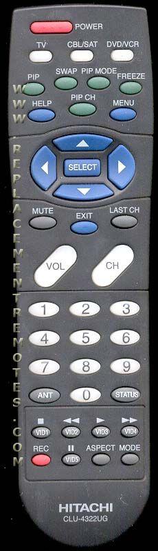 hitachi tv remote. the original hitachi clu4322ug remote hitachi tv