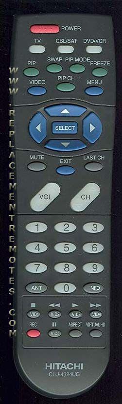 hitachi tv remote. the original hitachi clu4324ug remote hitachi tv