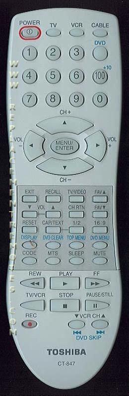 TOSHIBA AE003009 TV Remote Control