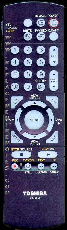 TOSHIBA CT9939 Remote Control
