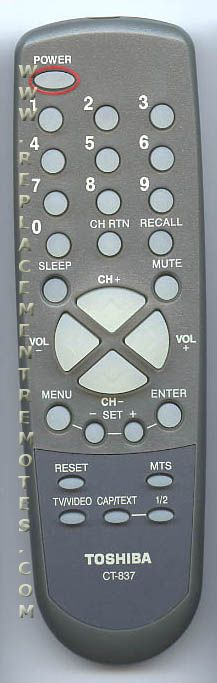 Buy TOSHIBA CT-837 CT837 -72796932 TV Remote Control