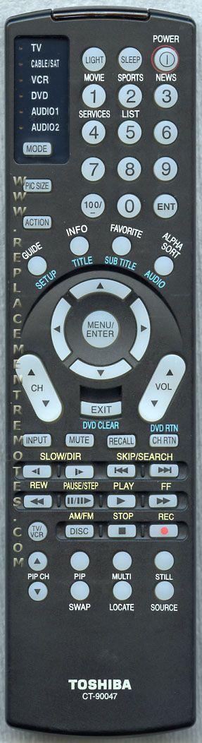 TOSHIBA CT90047 TV/VCR/DVD Combo Remote Control