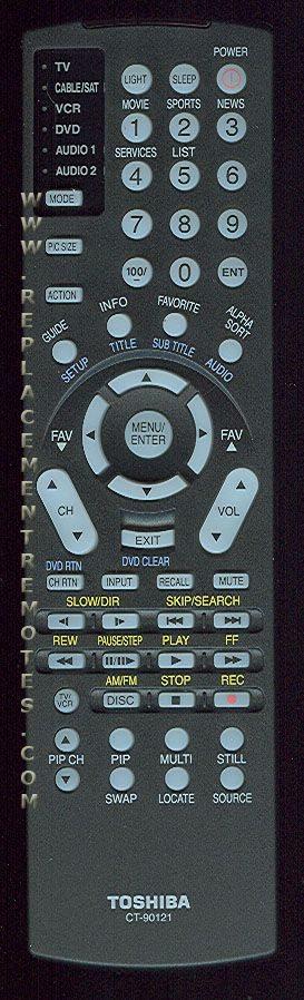 TOSHIBA CT90121 TV Remote Control