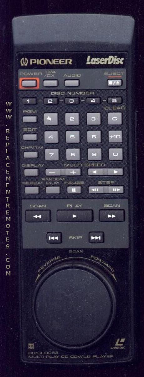 PIONEER CUCLD063 Laser Disc Player Remote Control