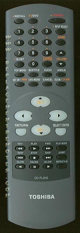 TOSHIBA DCFL20S TV/DVD Combo Remote Control