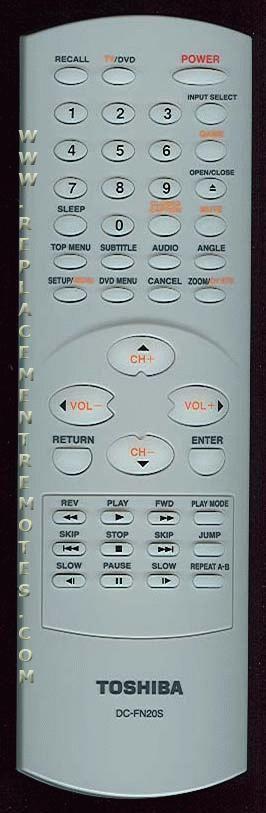 TOSHIBA DCFN20S TV/DVD Combo Remote Control