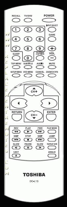 TOSHIBA DCL1S Remote Control