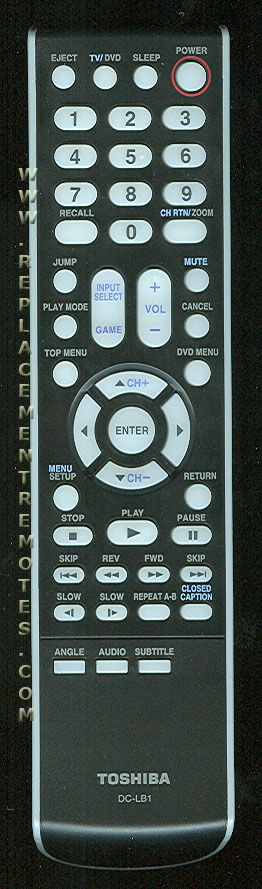 TOSHIBA DCLB1 TV/DVD Combo Remote Control