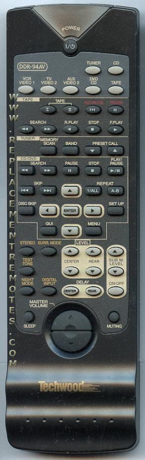 Techwood DDR94AV Audio/Video Receiver Remote Control