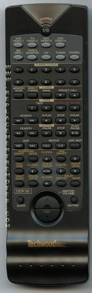 Techwood DDR95 Audio/Video Receiver Remote Control