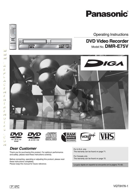 Panasonic dmr-e75v dvd/vcr combo recorder complete $89. 99   picclick.
