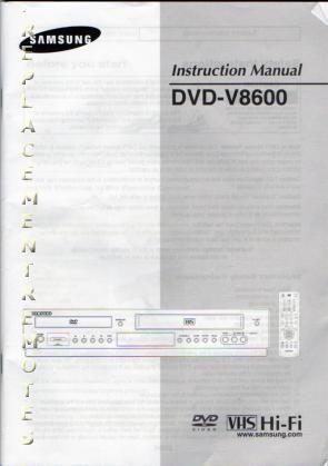 SAMSUNG DVDV8600OM Operating Manual