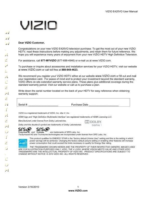 buy vizio e420voom e420vo operating manual rh replacementremotes com Vizio E420VO Settings Vizio E420VO Problems