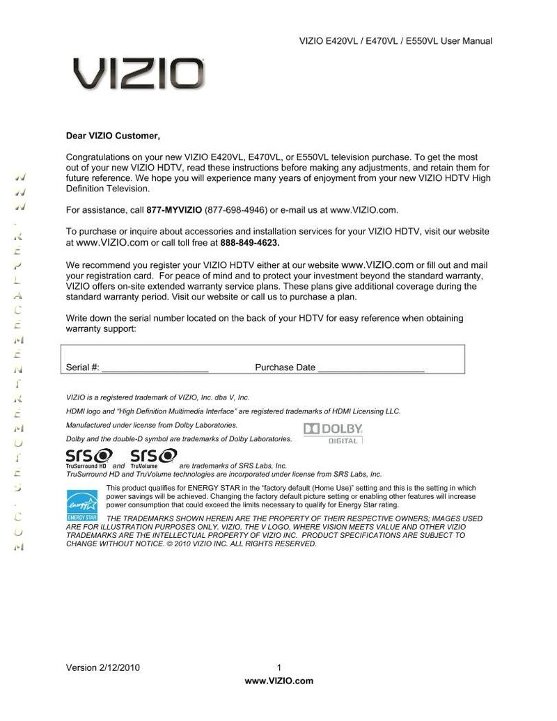VIZIO E470VLEOM Operating Manual