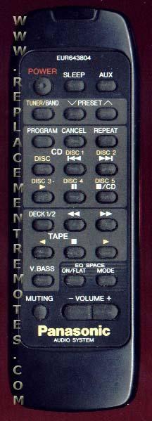 Panasonic EUR643804 Audio System Remote Control