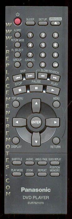Panasonic EUR7621070 DVD Player Remote Control