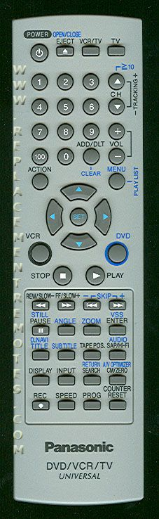 Panasonic EUR7724KF0R TV/VCR/DVD Combo Remote Control
