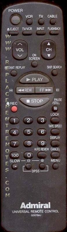 ADMIRAL G0079AJ VCR Remote Control