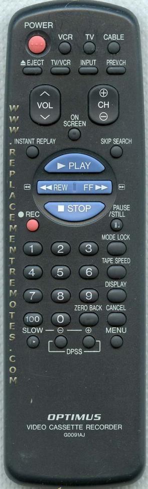 OPTIMUS G0091AJ VCR Remote Control