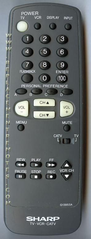 SHARP G1395SA VCR Remote Control